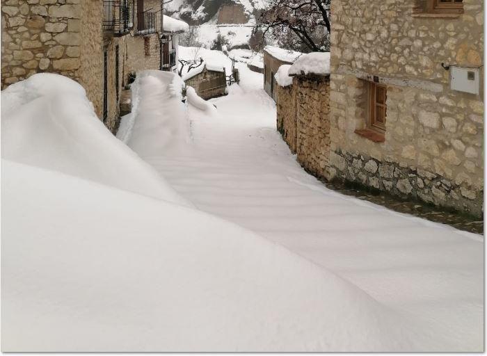 Xiva de Morella, tomada por la nieve