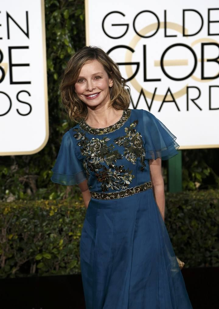 Calista Flockhart arrives at the 73rd Golden Globe Awards in Beverly Hills