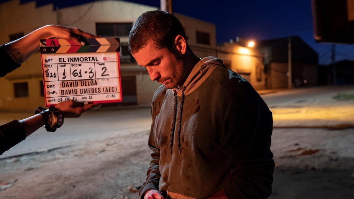 Álex García durante el rodaje de 'El Inmortal'.