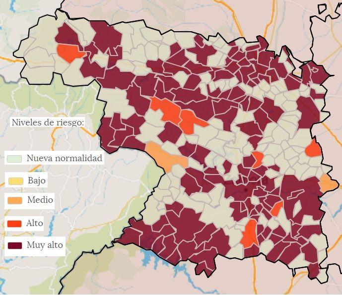 Mapa de las localidades con casos COVID en la provincia