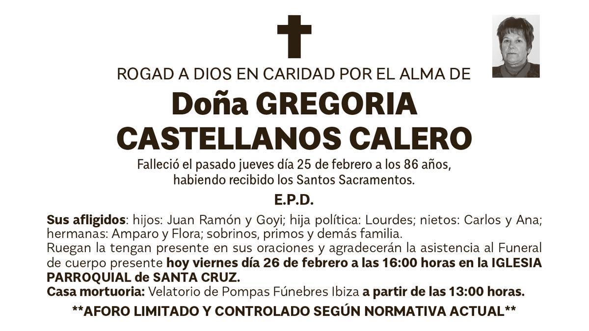 Esquela Gregoria Castellanos Calero