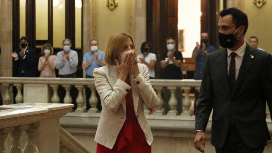 Forcadell, en la seva tornada al Parlament: «La llibertat d'expressió és un tresor que hem de preservar»