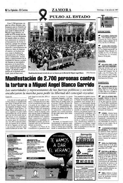Zamora: 20 años del asesinato de Miguel Ángel Blan