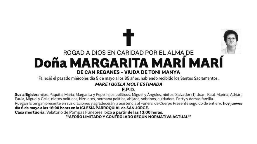 Esquela doña Margarita Marí Marí