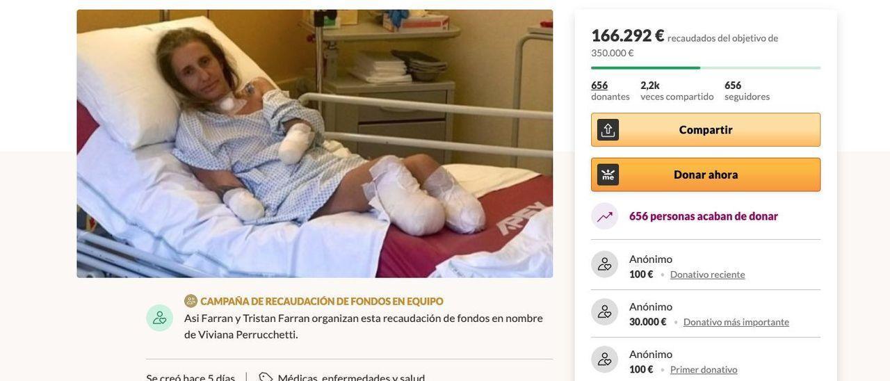 Una imagen de la campaña de 'crowfunding' para ayudar a Viviana.