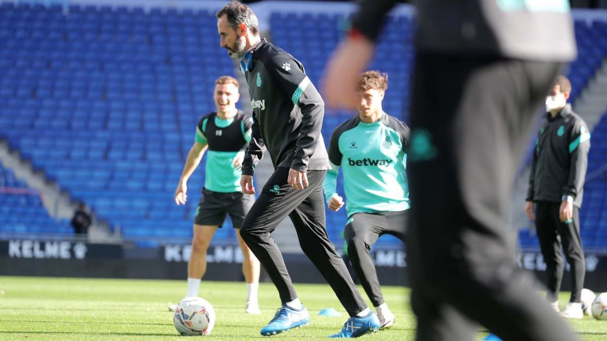 Moreno, en un entrenamiento reciente con el Espanyol.