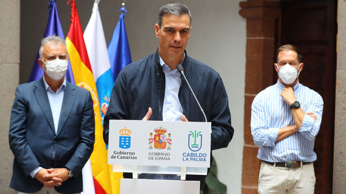 El presidente Sánchez durante su comparecencia en La Palma