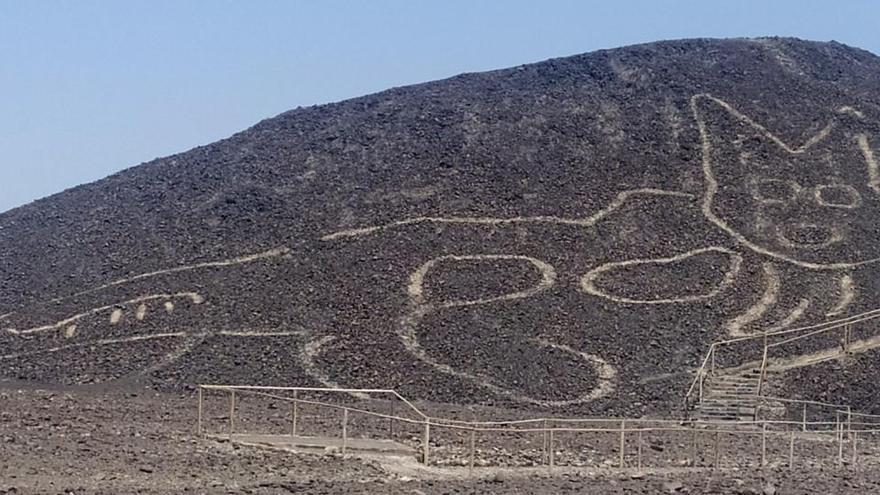 Un gato de 37 metros, nueva y espectacular figura de Nazca