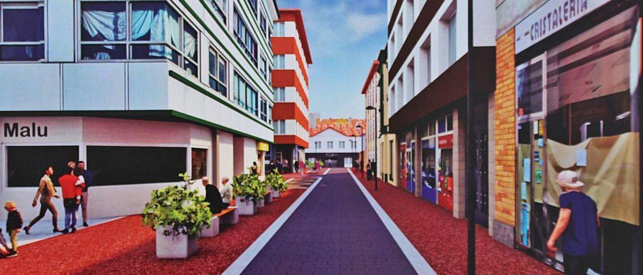 Recreación del aspecto que tendrá la calle Ramón Menéndez Pidal de Pola de Laviana.