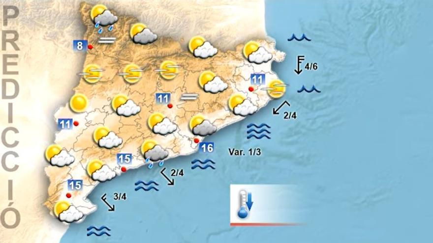Dimarts seguirà baixant la temperatura i els ruixats seran presents a diferents punts de Catalunya