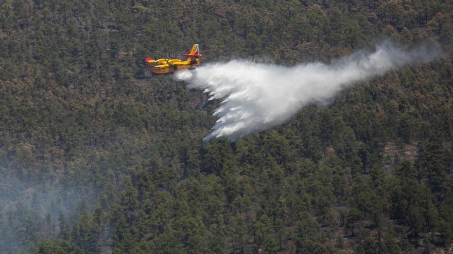 Labores de extinción del incendio forestal de Arico este domingo