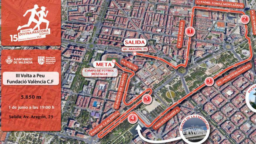 Estas son las calles cortadas por la  III Volta a Peu Fundación Valencia CF