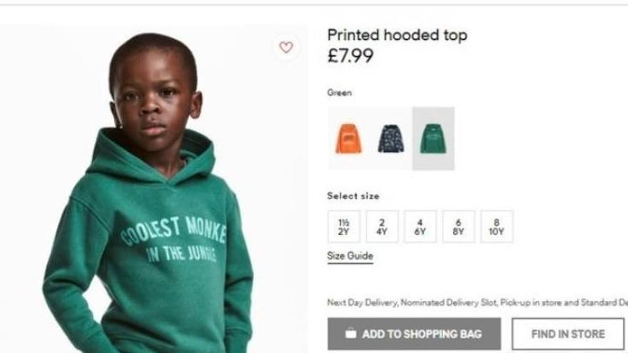 Acusen a 'H&M' de racista i retira aquesta imatge d'un nen negre