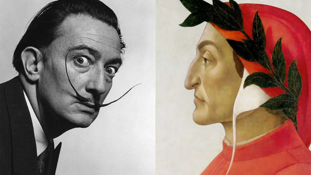 Dalí in front of a painting by Dante.