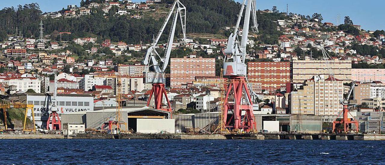 Vista general de los terrenos concesionados a Factorías Vulcano en Teis.