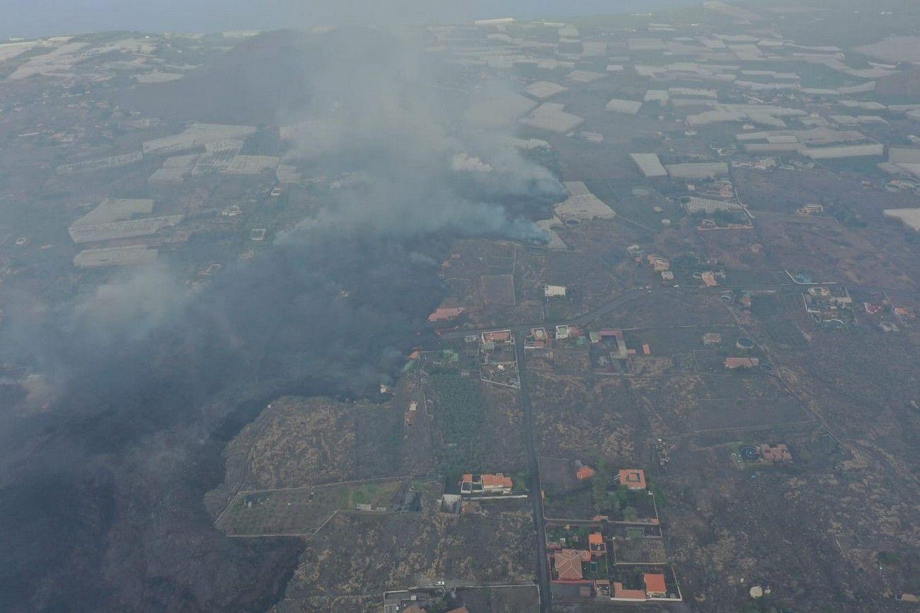 El avance de la lava del volcán de La Palma, a vista de pájaro en el décimo día de erupción