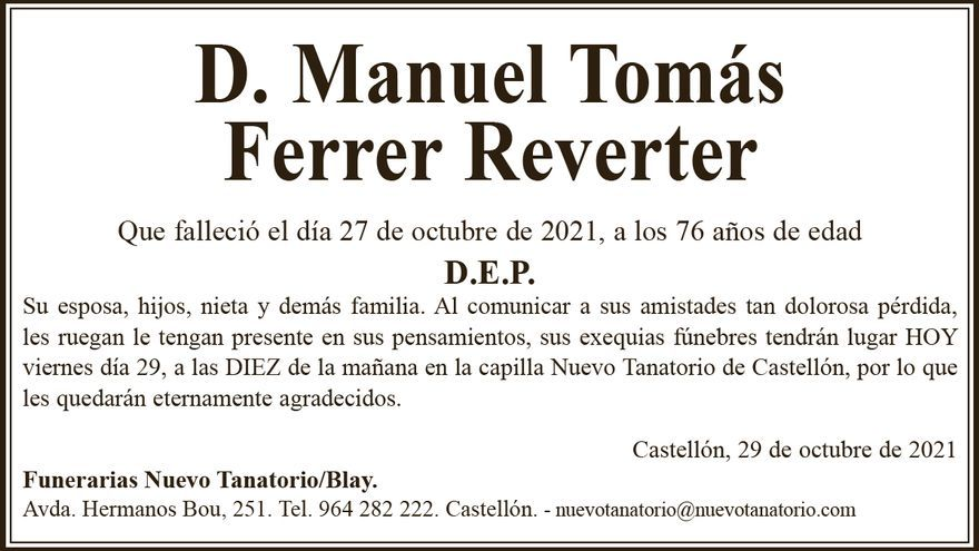 D. Manuel Tomás Ferrer Reverter
