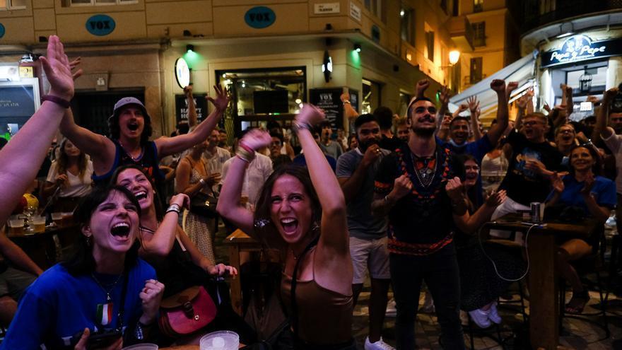 Así se vivió en el Centro de Málaga la final de la Eurocopa 2020