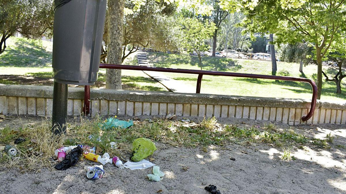 Restos acumulados en el parque Torre Ramona de Las Fuentes.    ANDREEA VORNICU