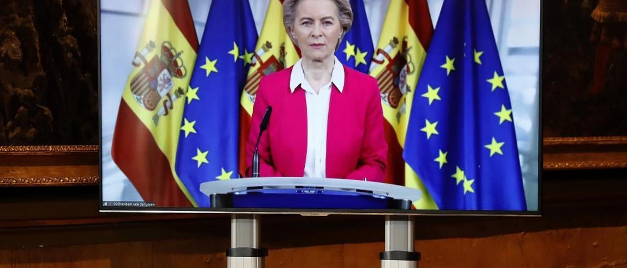 Ursula Von der Leyen, en la conferencia de presidentes en la que se trataron los fondos europeos