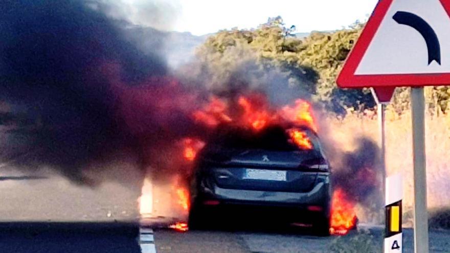 El incendio de un coche provoca cortes en la N-630