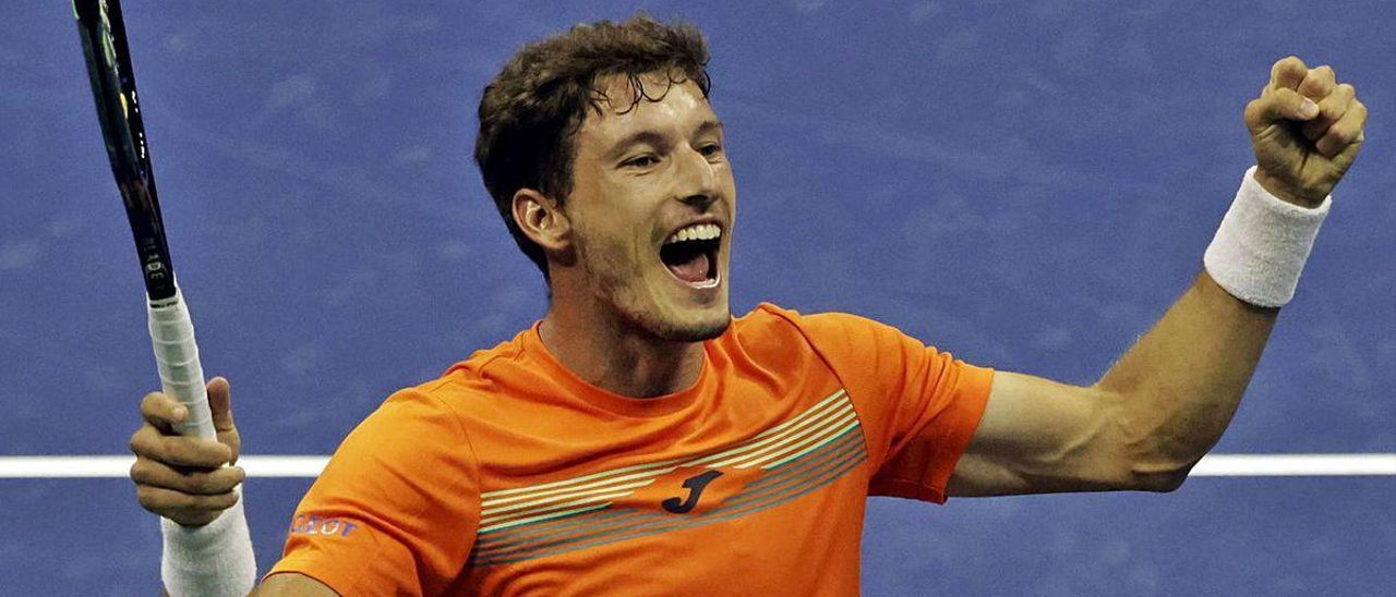 Carreño celebra su pase a las semifinales del US Open.