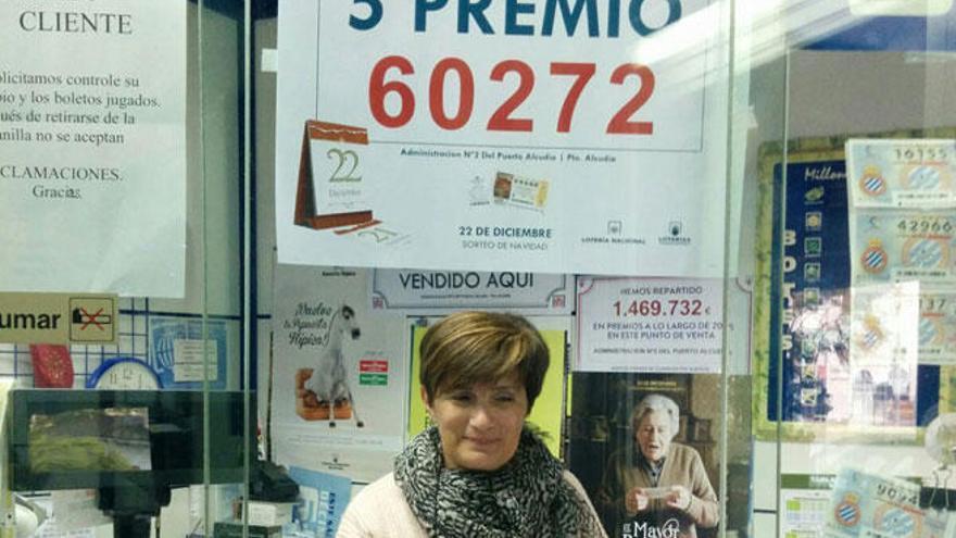 El 60272, agraciado con el sexto quinto premio de la Lotería de Navidad, vendido en Alcúdia