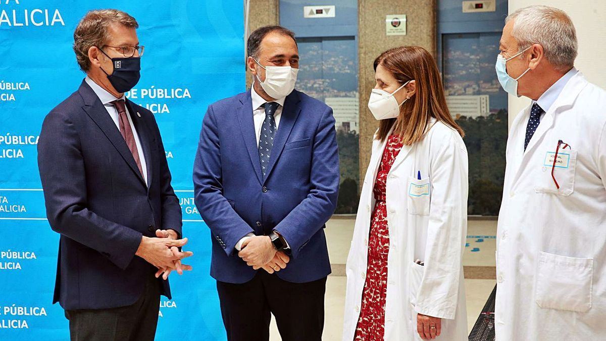 Núñez Feijóo, García Comesaña, Mallo Alonso y Puentes Prieto, ayer, en el Meixoeiro.     // MARTA G. BREA