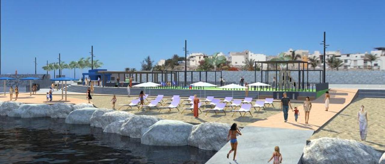 Infografía del proyecto de rehabilitación de la playa de El Perchel, en Arguineguín.     LP/DLP