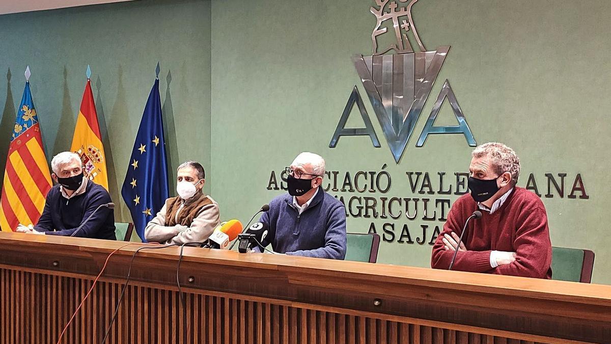 Cristóbal Aguado (segundo por la derecha), ayer, en la sede de AVA-Asaja. | LEVANTE-EMV