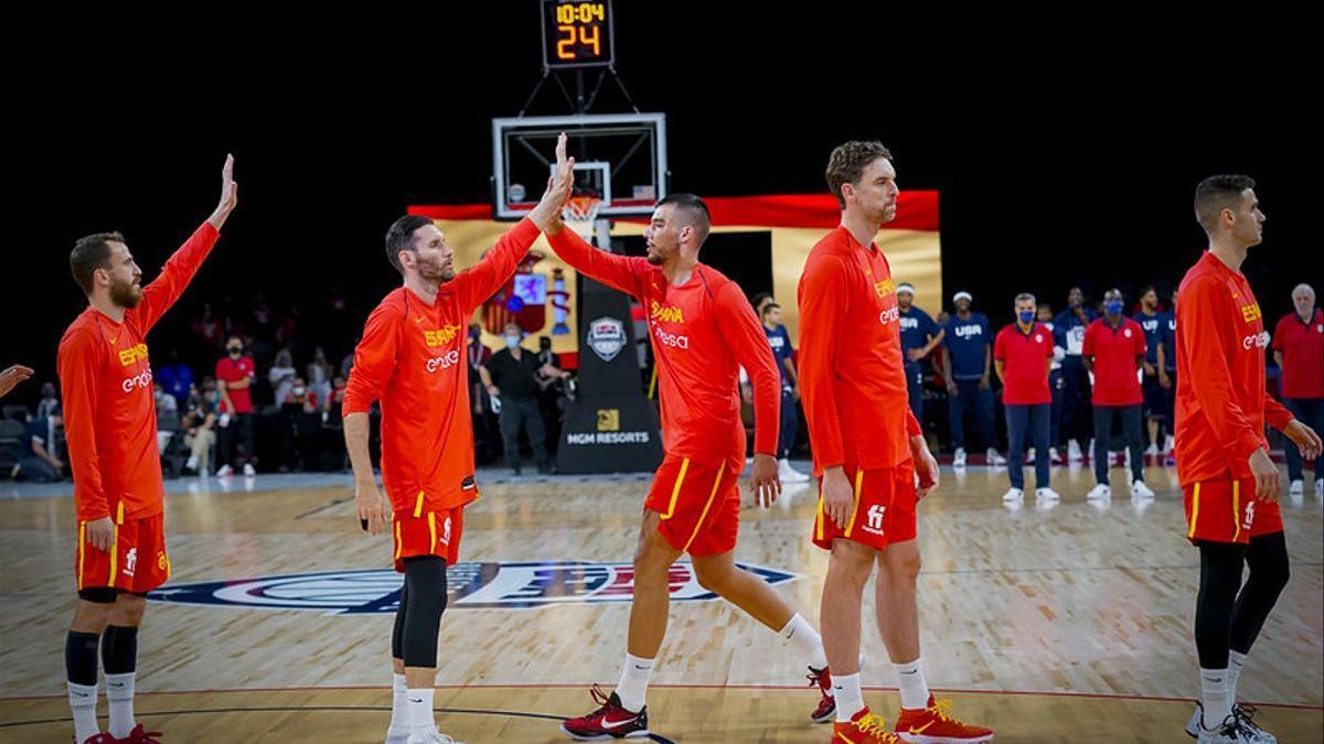 La selección española de baloncesto, en su último amistoso en Las Vegas ante Estados Unidos.