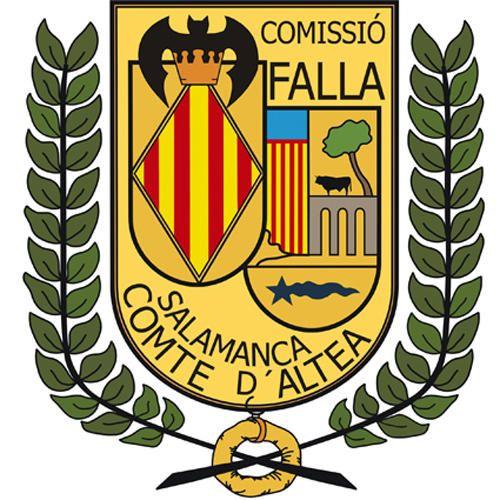 Salamanca-Conde Altea, con el toro transitando por un puente, propio del escudo de Salamanca.