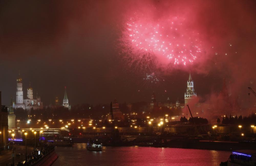 Celebración de Año Nuevo en el Kremlin moscovita.