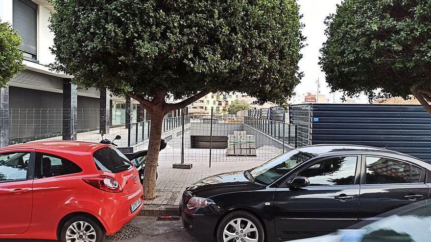 Árbol que bloquea la entrada al garaje de las 128 viviendas, en la Avenida San Antonio. | L-EMV