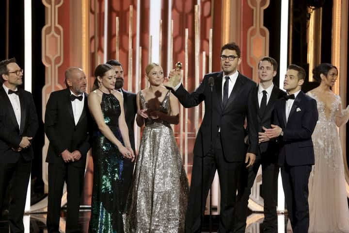"Esmail accepts the award after ""Mr. Robot"" won the Best TV Series, Drama at the 73rd Golden Globe Awards in Beverly Hills"
