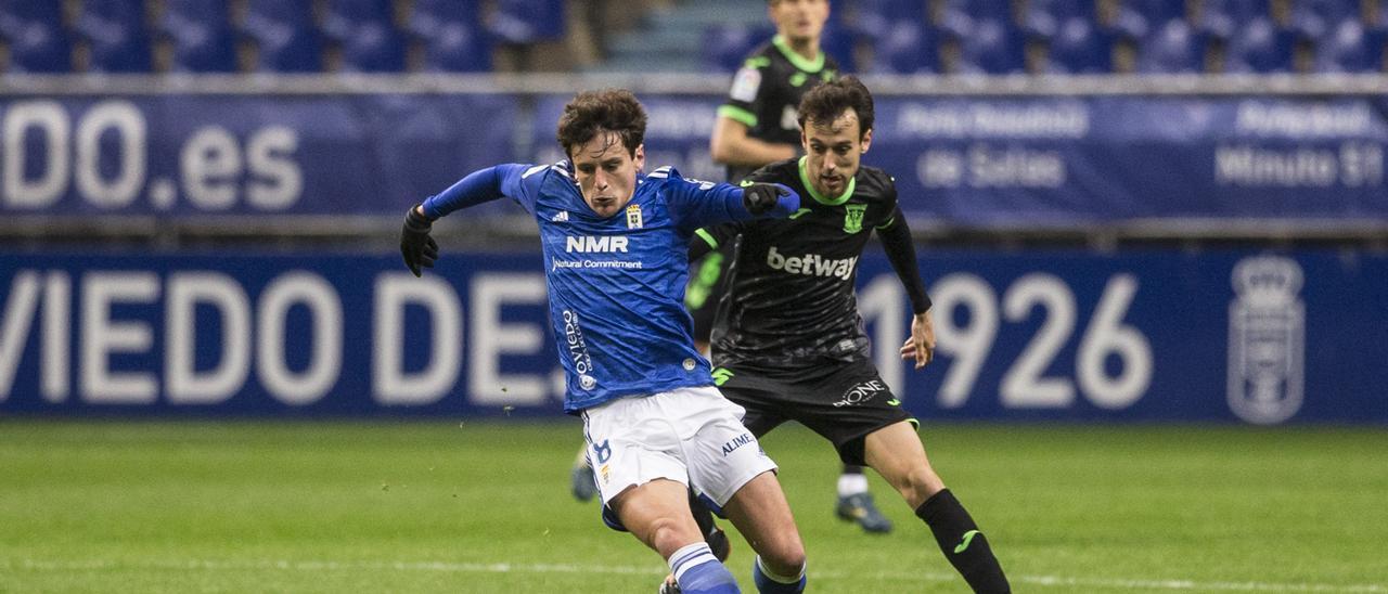 Sangalli durante un partido del Oviedo esta temporada