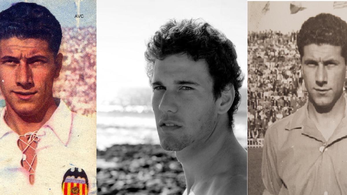 Óscar, entre las fotografías de su abuelo, exjugador del Valencia CF