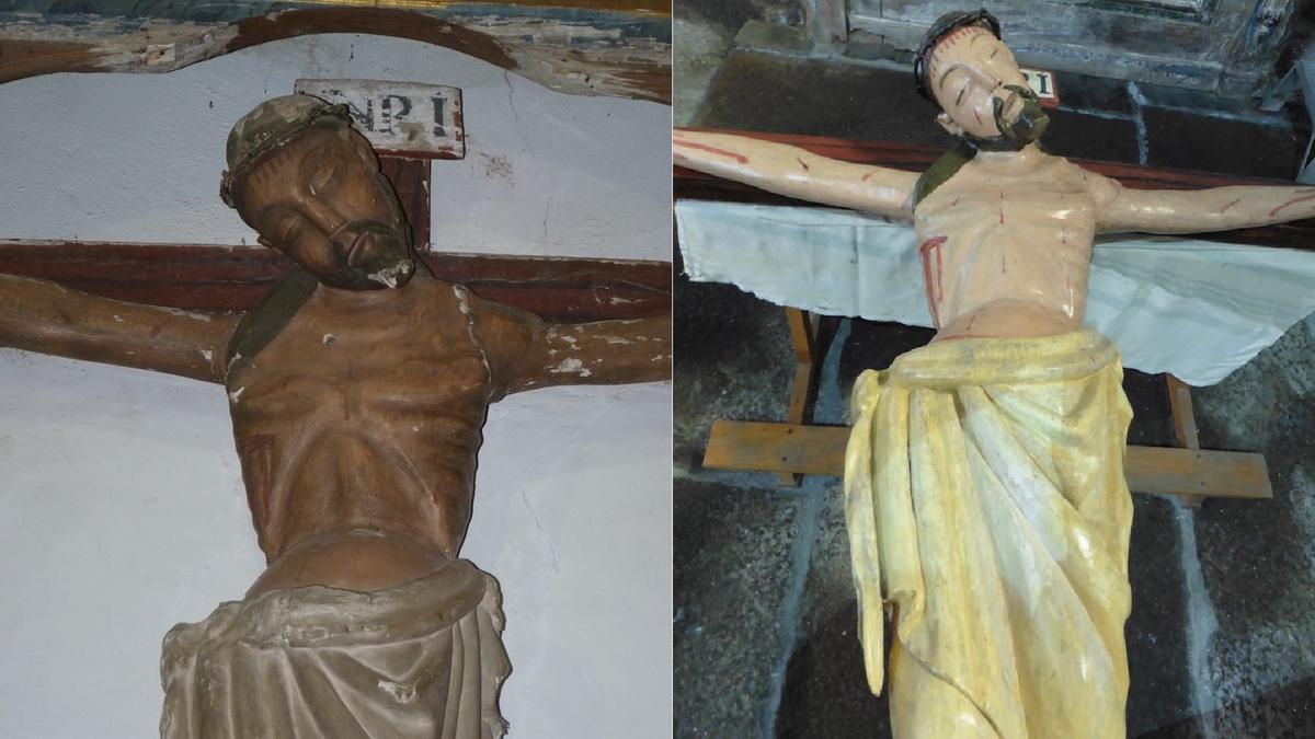 Cristo del Perdón de Gallegos del Campo antes y después de la restauración.
