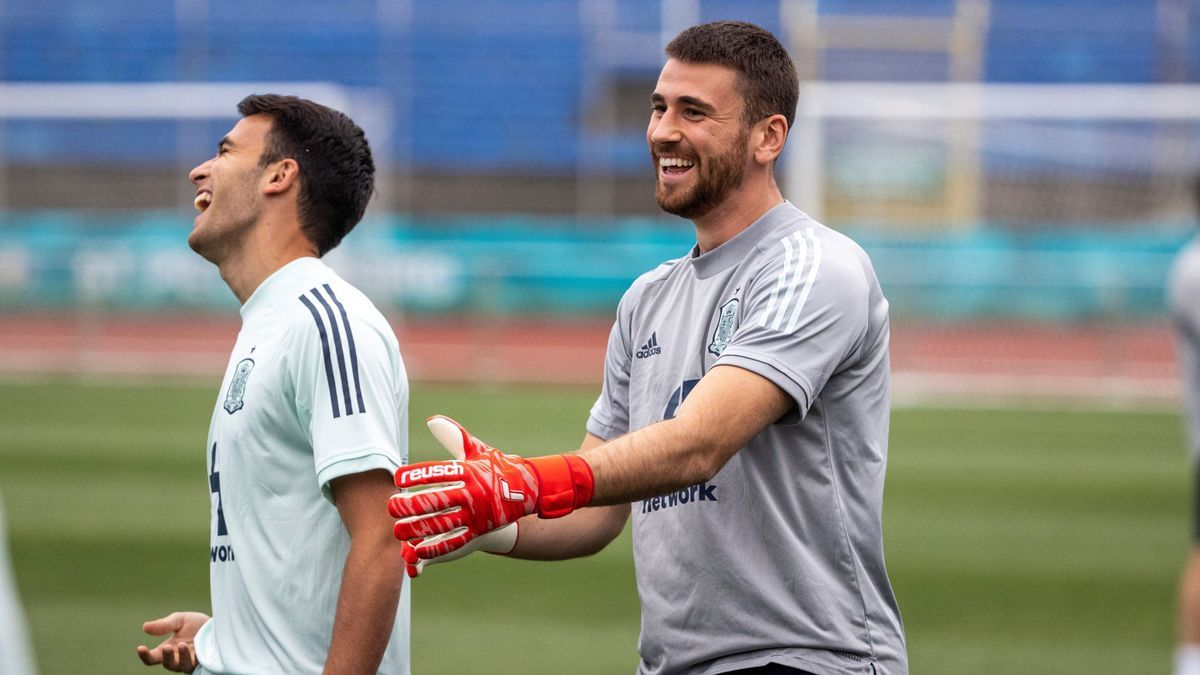 Unai Simón, in a training session for the national team in Saint Petersburg