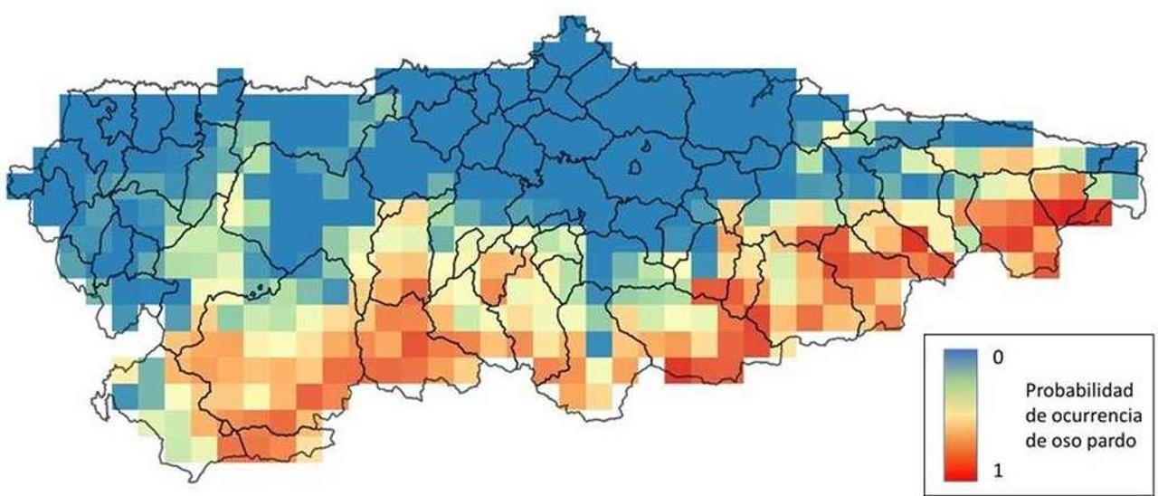 Mapa de expansión de la población de la especie en Asturias elaborado por el grupo de investigación sobre el oso pardo cantábrico (en rojo, las mejores zonas).