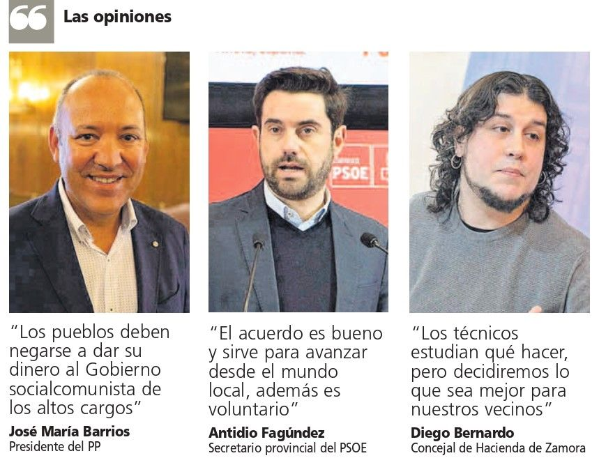 Posiciones sobre la cesión de dinero al Estado en Zamora.