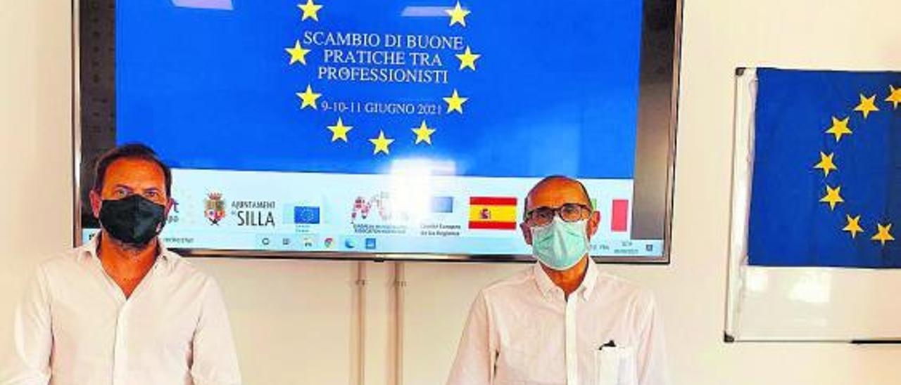 Zaragozá (Silla) y Nofuentes (Quart), en Italia, presentando el proyecto.    M.H.S.