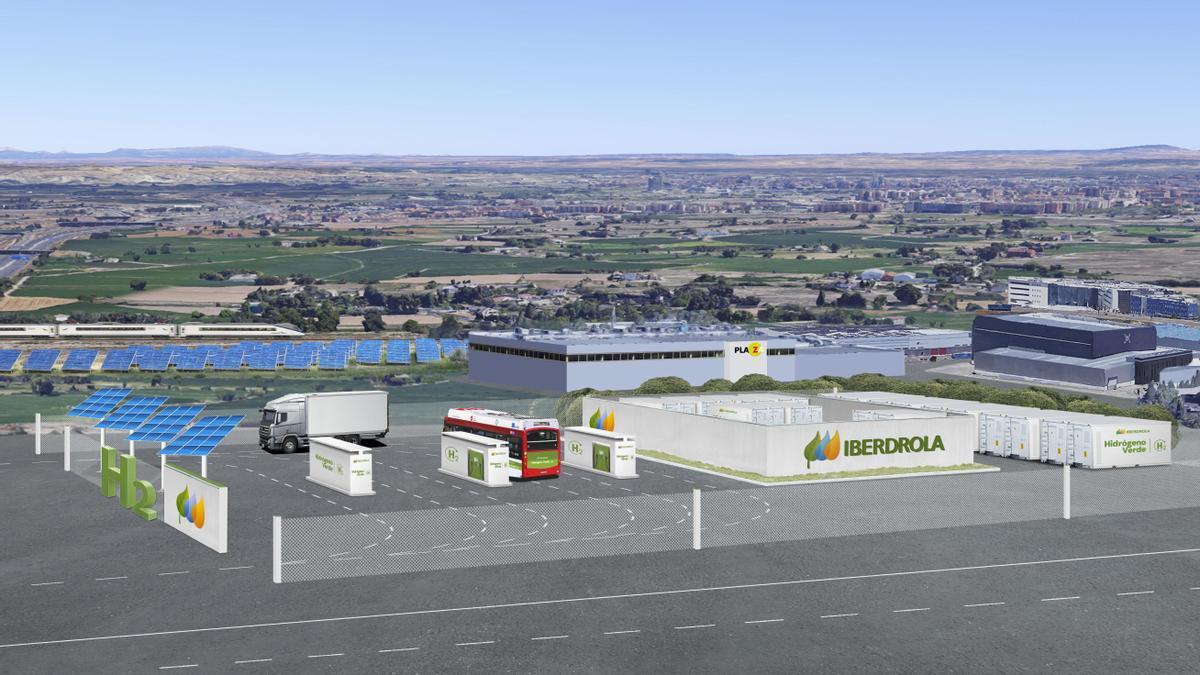 Recreación virtual de la hidrogenera que Iberdrola plantea instalar en Plaza en un proyecto presentado para las ayudas europeas.