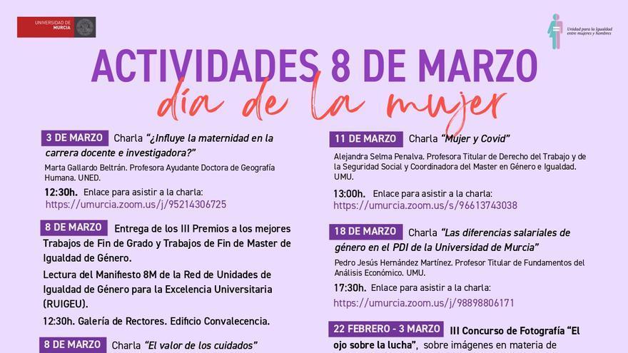La UMU inicia este miércoles las actividades para conmemorar el Día Internacional de la Mujer