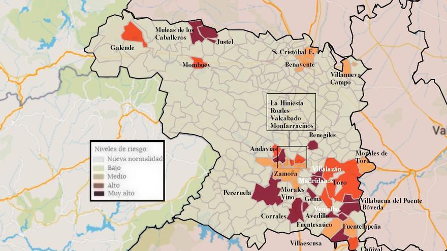 Mapa de coronavirus de Zamora, hoy, viernes | Toro abandona el riesgo extremo y Fermoselle está en nueva normalidad