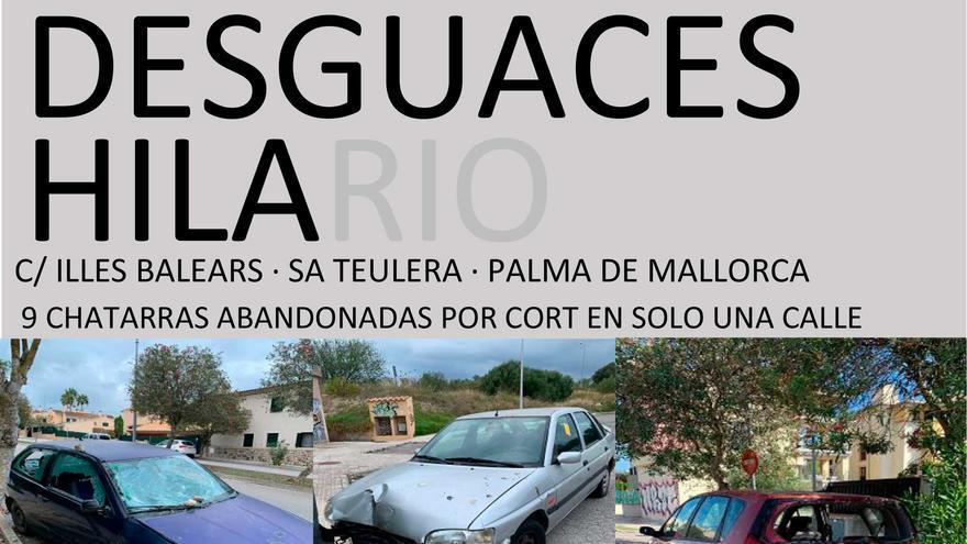 Los coches abandonados de sa Teulera, en un  meme sobre Desguaces Hilario