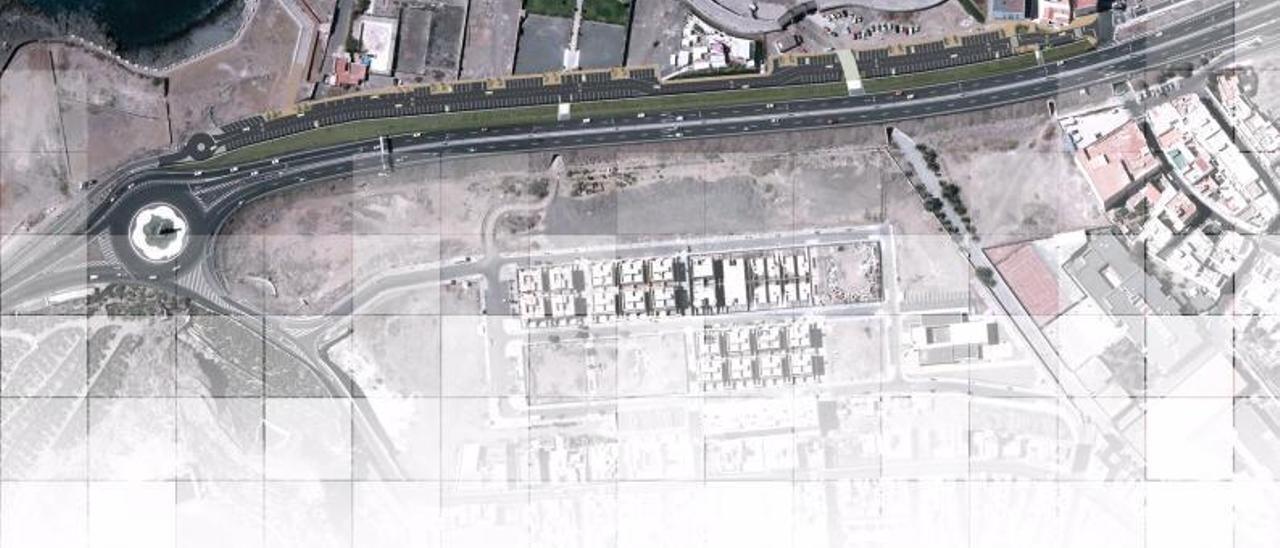 Vista aérea infográfica de la zona de Las Coloradas, en Arucas, destinada a suelo deportivo y de ocio en el PGOU. | | LP/DLP