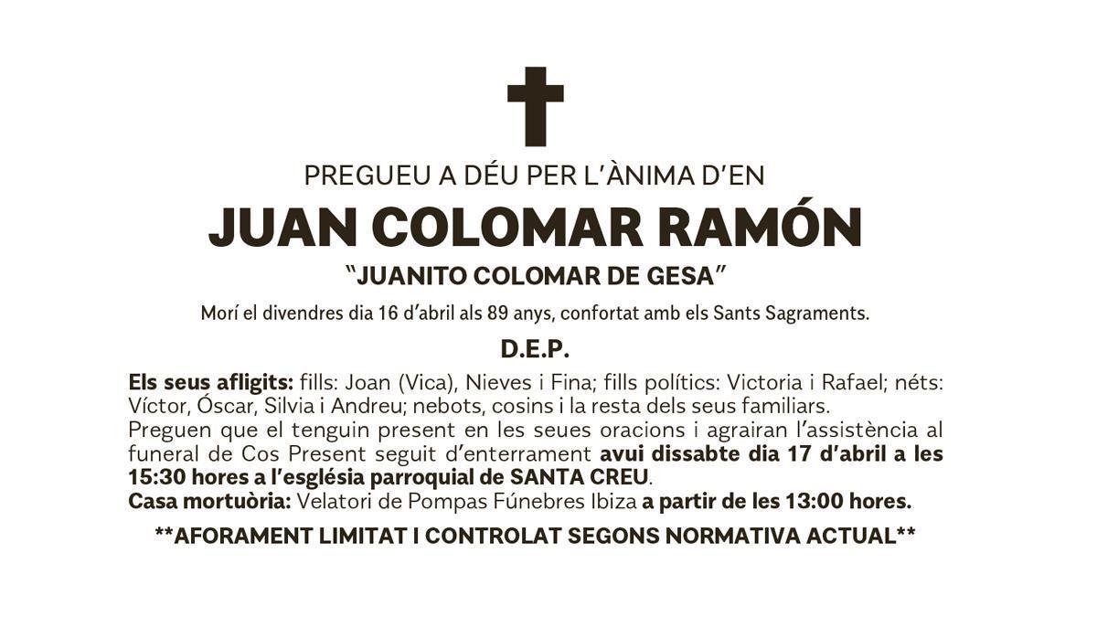 Esquela Juan Colomar Ramón