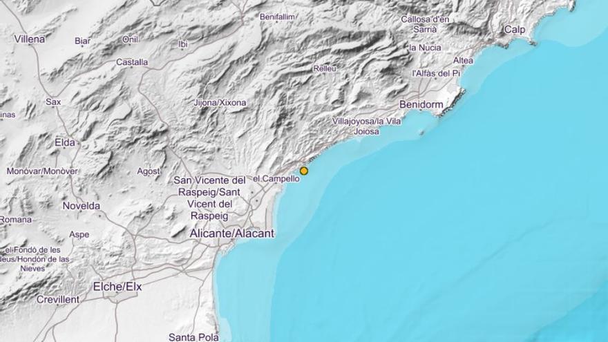 El Campello registra un seísmo de 2,3 en la escala Richter sin causar incidencias