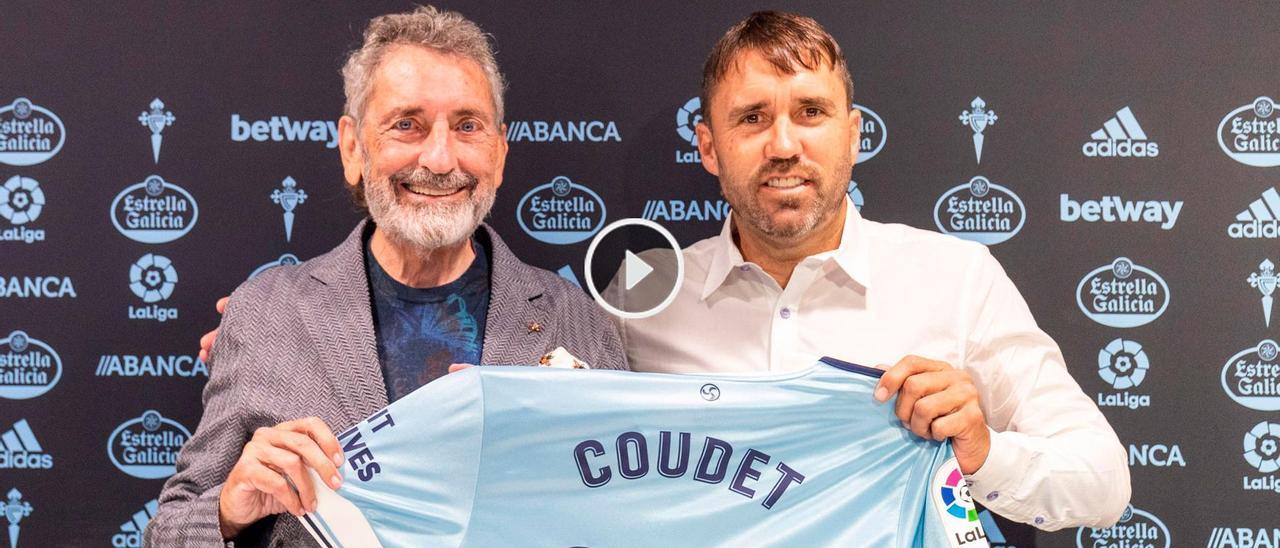 Carlos Mouriño y Eduardo Coudet, durante el acto de firma del nuevo contrato del técnico argentino